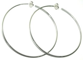 "925 STERLING SILVER CIRCLE HOOPS BIG EARRINGS, 9.5cm x 2mm (3.8"" X 0.08"") SMOOTH image 1"