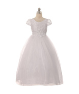 Cap Sleeve Ribbons Lace Bodice White Communion Dress with Raised Floral ... - $54.00+