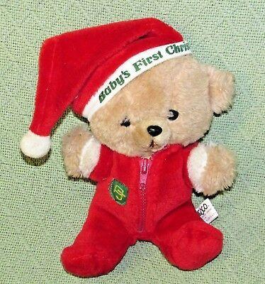 "10"" Vintage ENESCO PJ TEDDY Plush Bear BABY'S FIRST CHRISTMAS Stuffed KOREA RARE"
