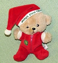 "10"" Vintage ENESCO PJ TEDDY Plush Bear BABY'S FIRST CHRISTMAS Stuffed KO... - $32.73"