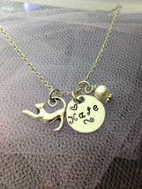 Personalized Hand Stamped Little Girls Kitty Cat Necklace with Swarovski... - $24.00