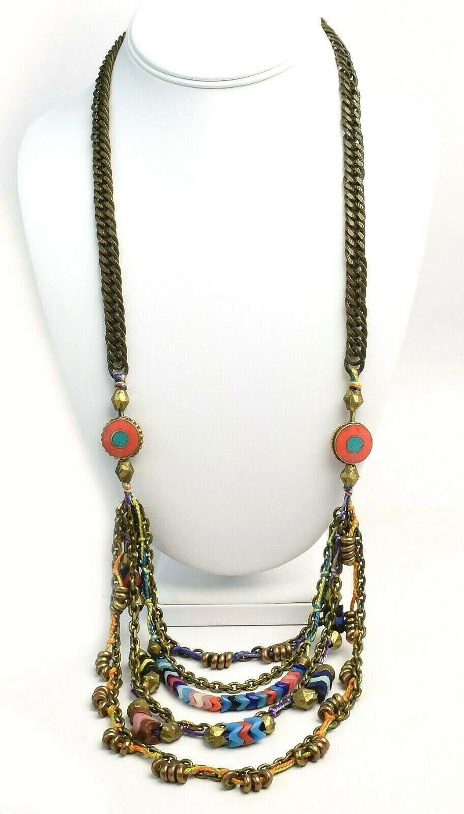 Vanessa Mooney Poppystack Necklace BOHO Multi Tier Strand Multicolor Beads