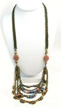 Vanessa Mooney Poppystack Necklace BOHO Multi Tier Strand Multicolor Beads - $138.60