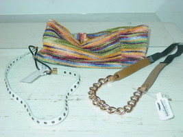 Urban Outfitters lot 3 headbands white leather gold chain multi color-NW... - €19,76 EUR