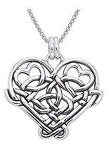 Jewelry Trends Sterling Silver Celtic Knot Eternal Love Heart Pendant on... - $41.60