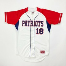 Rawlings Patriots Full Button Baseball Game Jersey Men's Small White Red... - $35.63