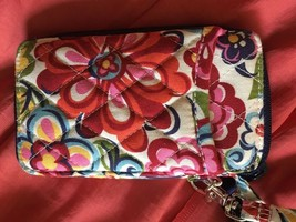 Vera Bradley white & orange floral WRISTLET, PURSE, WALLET, ID CLUTCH. - $14.99