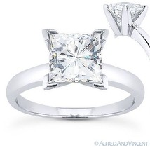 Square Cut Forever ONE D-E-F Moissanite 14k White Gold Solitaire Engagement Ring - $516.00+