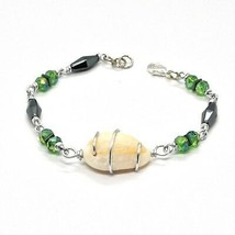 Bracelet the Aluminium Long 19 Inch with Shell Hematite and Crystals image 1
