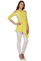 Tunics for women Moss Tunics Crepe Lime Green Cold Shoulder top Christmas gifts image 2