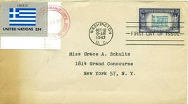 FIRST DAY COVER 1943 OVERRUN NATIONS FLAGS GREECE THE WORLD WAR II VALUE... - $27.00