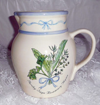 "Parsley Sage Rosemary Thyme Stonewear Pitcher - 8"" tall x 9"" wide at Handle - $23.36"