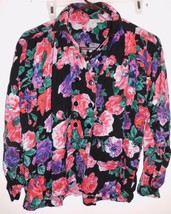 PAPILLON Vintage Shirt Sz 14 Women Purple Black Pink Floral Made in India - $13.85