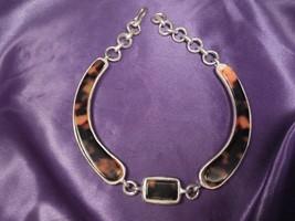 Vintage 1994 Clara Kasavina Studio Silver Tone Brown Marbled Necklace - $44.55