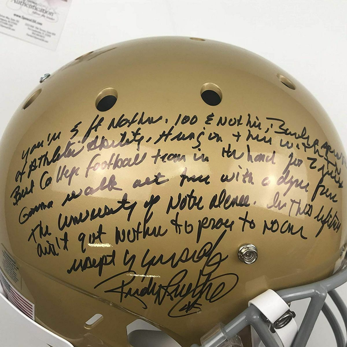 Autographed/Signed RUDY RUETTIGER Speech Notre Dame Full Size FS Helmet JSA COA image 2