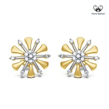 Flower Style Stud Earring For Women's Diamond White Gold Plated Pure 925 Silver - $42.99