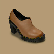 Dr Martens Womens Cordelia Antique Milled Brunido Brown Leather Heels Size 8 - $86.94