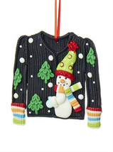 "KURT S. ADLER CLAYDOUGH ""UGLY CHRISTMAS SWEATER"" BLACK w/ SNOWMAN XMAS O... - $8.88"