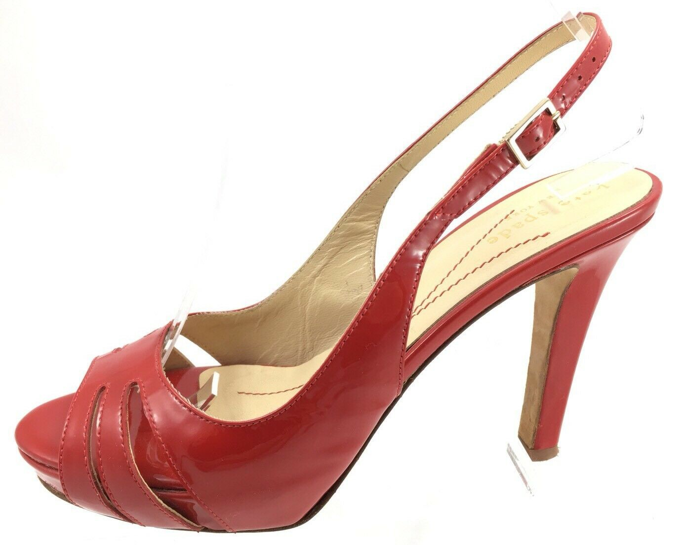 SH15 Kate Spade 5.5B Italy Red Patent Leather Slingback Open Peep Toe High Heels - $37.61