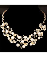 Women Gold Match-Right Simulated Pearl Beads Necklace Pendants Crystal L... - $12.99