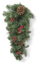 "28"" Prelit LED Red Berry and Pinecone Mixed Pine Artificial Christmas Swag NEW image 2"