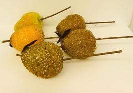 Christmas Decorations Vintage Sugar Beaded Fruit Pears Picks Lot Of 5 - $37.61