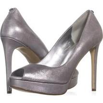 MICHAEL Michael Kors Erika Platform Open Toe Heels 687, Silver, 8.5 US /... - $39.16