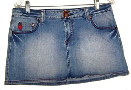 Sz 13 - Bongo Cotton Blend Blue Jean Denim Skirt w/Faux Brown Leather Ac... - $23.74