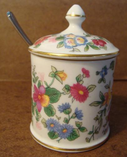 Vintage Crown Staffordshire Mustard Jar & Spoon Thousand Flowers England Pointed