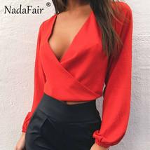 Nadafair Full Sleeve V Neck Backless Bow Short Chiffon Blouse Women Sexy... - $17.80