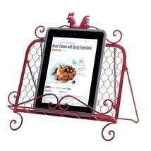 KITCHEN COUNTERTOP COOKBOOK HOLDER Tablet Stand Red Rooster Recipe Display - $24.33