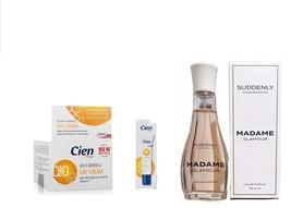 CIEN Q10 DAY FACE cream + EYE CONTOUR CREAM + SUDDENLY MADAME PERFUME 75ml - $55.99