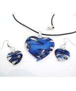 Blue Swirl Murano Glass Heart Necklace Earrings Set NP99 - $9.99