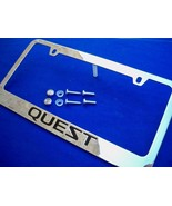 Licensed for Nissan Quest Chromed Metal License Plate Frame w Logo Screw... - $19.79