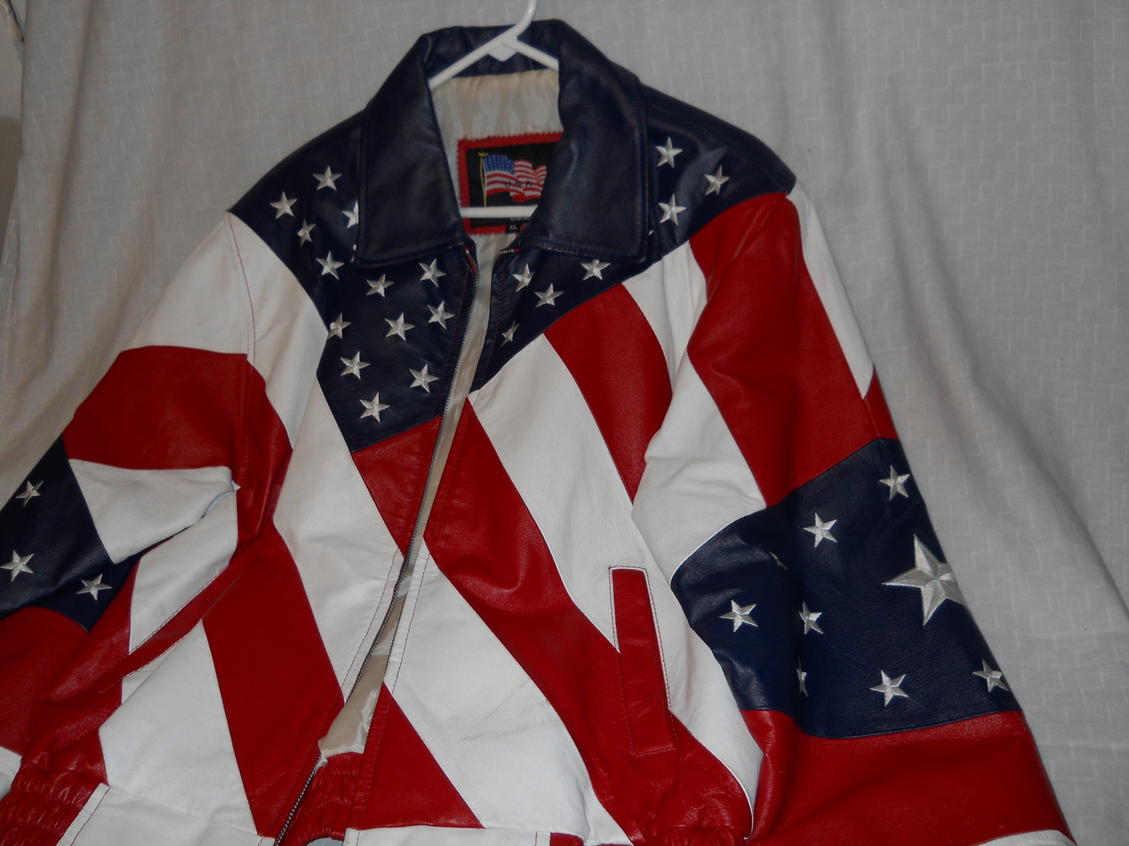 American Flag Stars & Stripes Red White Blue By USA Leathers Motorcycle Extra LG