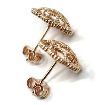 18K ROSE GOLD BOTTON FLOWER DAISY EARRINGS 14 MM, DOUBLE LAYER WORKED MIRROR image 5