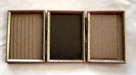 Vintage Tri Fold Double Hinged Picture Frame Gold Tone Metal Holds 3 1/4... - $22.99