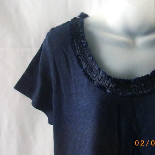 New Joe XL short-sleeved cotton navy top with ruffled neckline