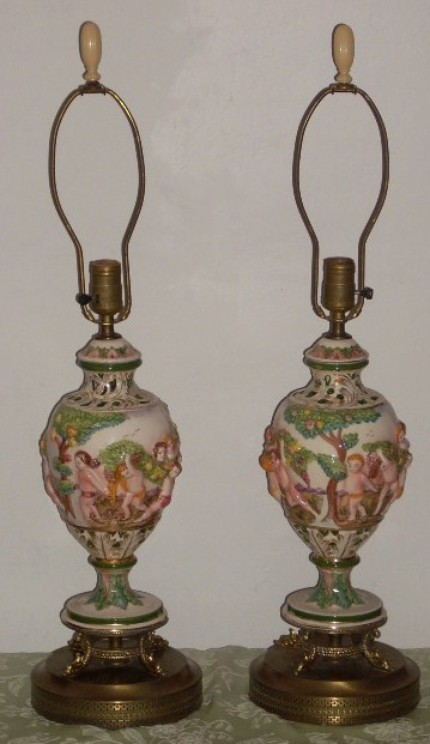 Capodimonte Porcelain Italy Pottery Cherub Table Lamps