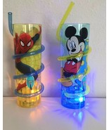 New Mickey Mouse & Spider Man Light Up Cup Swirly Straw BPA Free Kids Ag... - $29.70