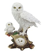 White Snow Owl Mother Perching On Tree Branch With Baby Owlets Statue 12... - $43.99