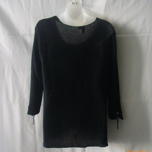 Jana black XL acrylic faux twinset with 3/4 sleeves & mother-of-pearl fastening