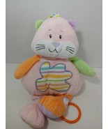 Baby Ganz kitty cat Pink green Musical Plush Baby Crib Toy stripes rings Flawed - $14.84