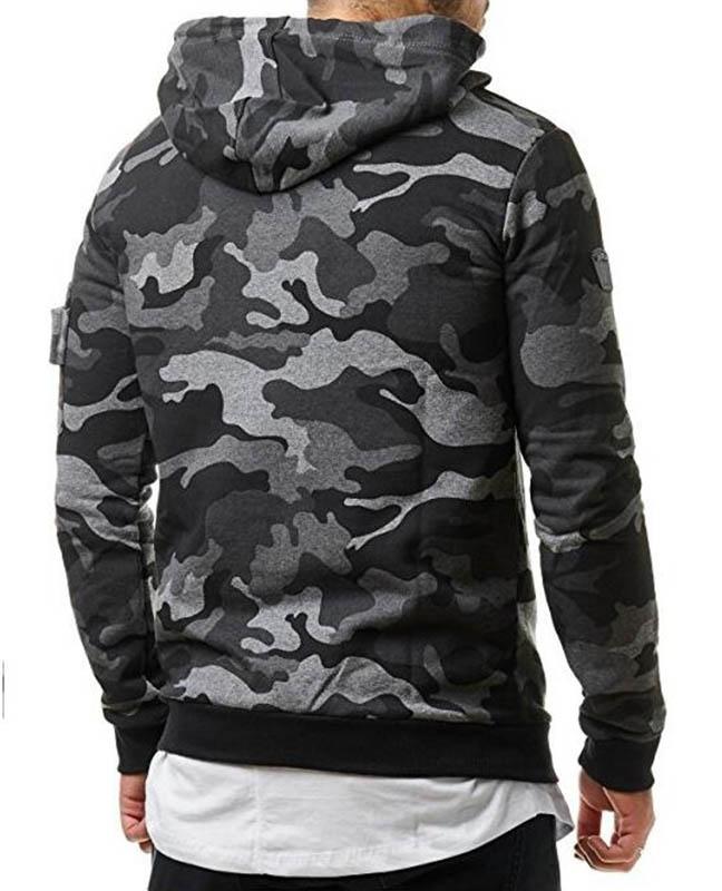 Hot Sale Men's Fashion Winter Camouflage Hoodie Warm Hooded Sweatshirt Coat Jack