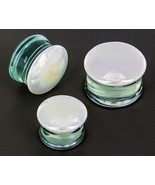"PAIR-Pyrex Glass White Pearl Saddle Flare Ear Plugs 20mm/13/16"" Gauge Bo... - $13.99"