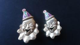 """Vintage Enamel Gold Tone Clown Clip Earrings 1.75"""" - $19.79"""