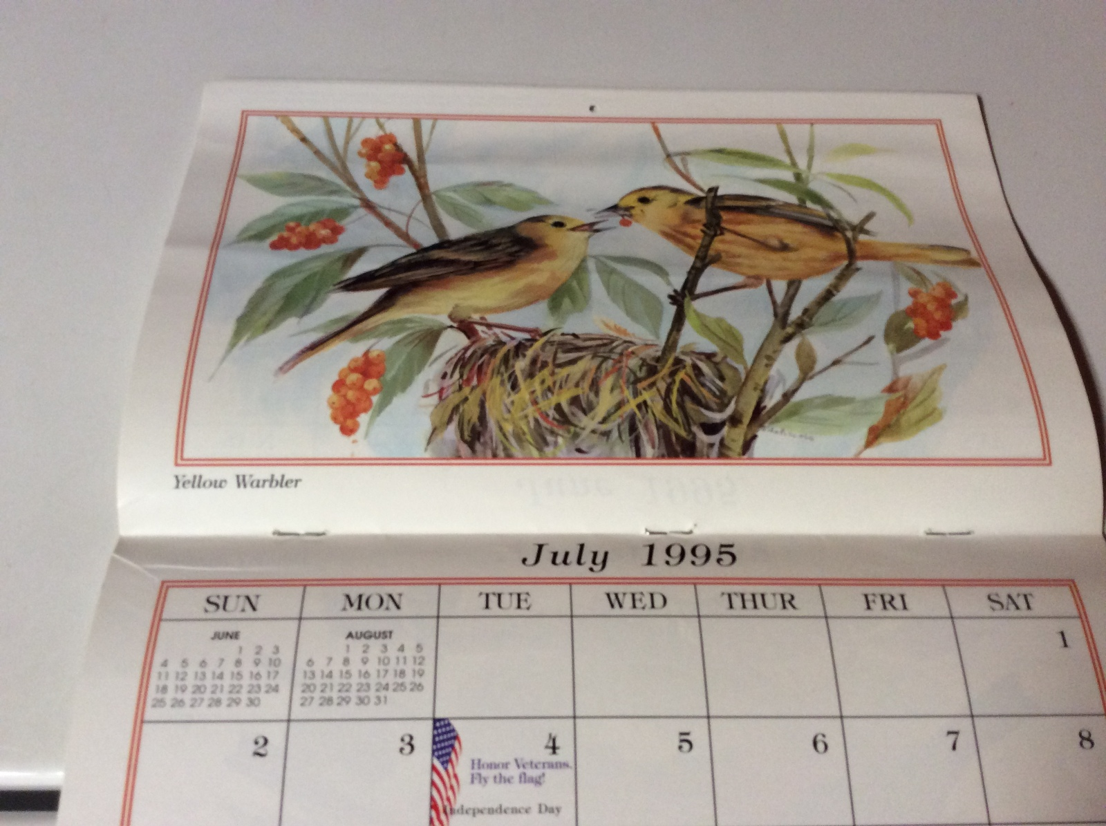 1995 Birds of America Collection Calendar -Paralyzed Veterans of America