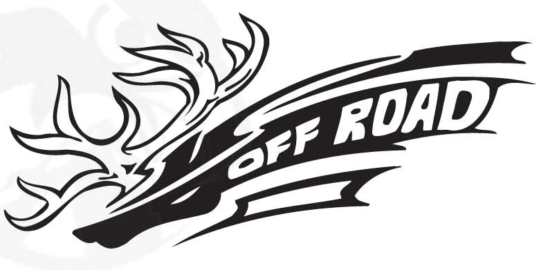 "Off Road Antler Sticker Decal (10"" by 5"")"
