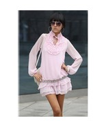 Dresses Ladies Fashion Puff Sleeve Ruffled Front Pink Dress - $34.99