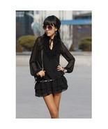 Dresses Ladies Fashion Puff Sleeve Black Chiffon Dress - $34.99